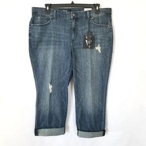 Distressed Capri Jeans Plus Size 16W